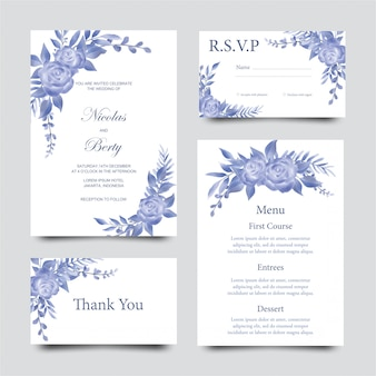 Modèle d'invitation de mariage avec des fleurs et des feuilles