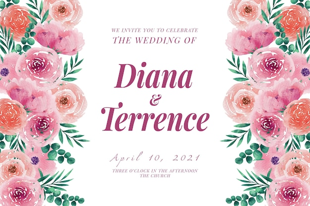 Modèle d'invitation de mariage fleurs et feuilles