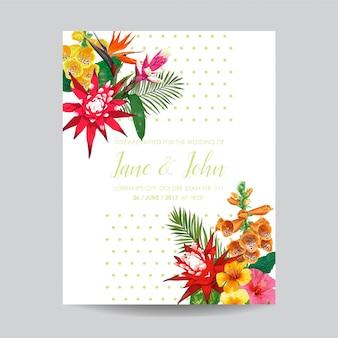 Modèle d'invitation de mariage avec des fleurs de lis du tigre et des feuilles de palmier. carte