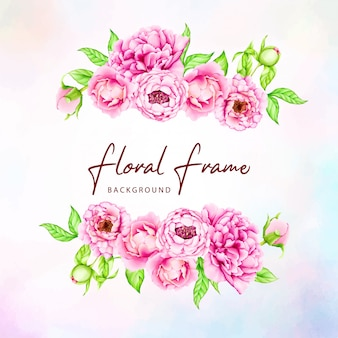 Modèle d'invitation de mariage avec des fleurs de pivoine aquarelle