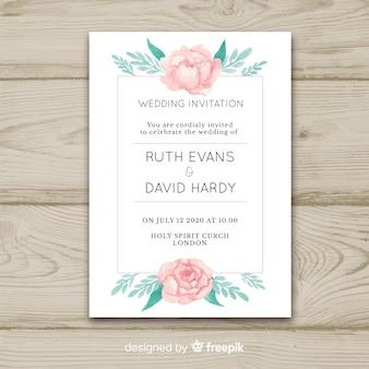 Modèle d'invitation de mariage avec des fleurs de pivoine mignonnes