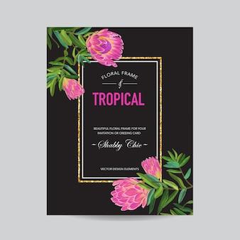 Modèle d'invitation de mariage avec des fleurs roses