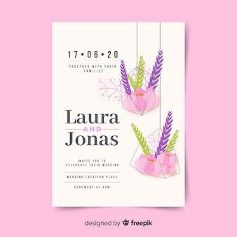 Modèle d'invitation de mariage de fleurs suspendus
