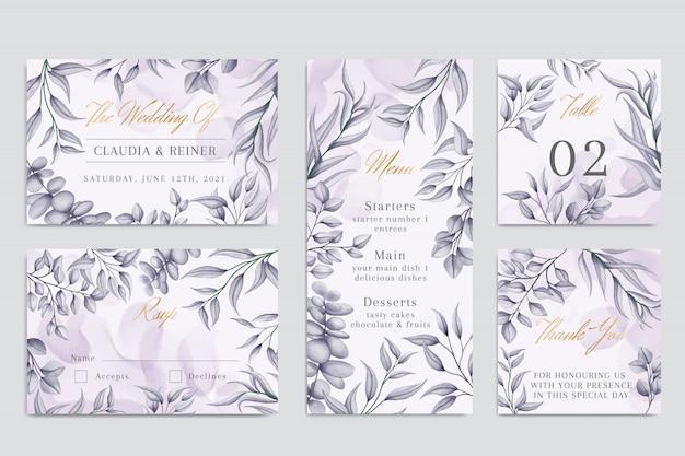 Modèle d'invitation de mariage floral aquarelle avec cadre doré