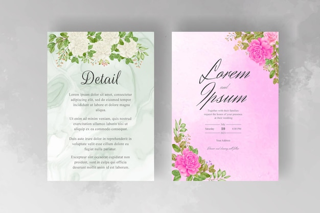 Modèle d'invitation de mariage floral aquarelle dessiné à la main