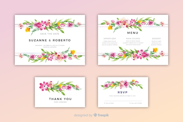 Modèle d'invitation de mariage floral aquarelle
