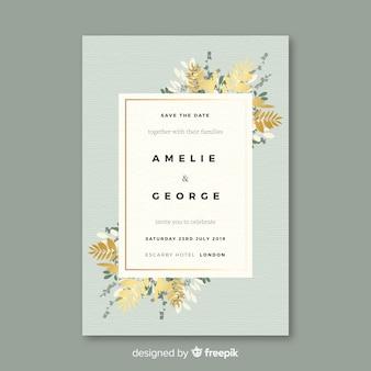 Modèle d'invitation de mariage floral au design plat