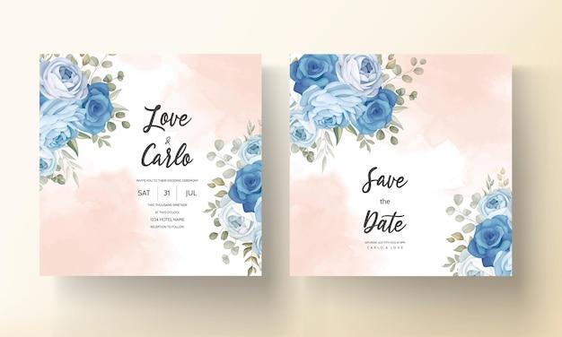 Modèle d'invitation de mariage floral bleu élégant