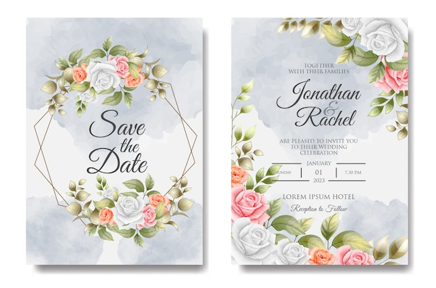 Modèle d'invitation de mariage floral coloré