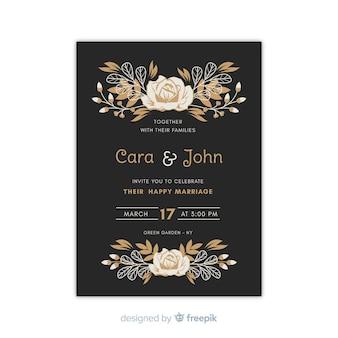 Modèle d'invitation de mariage floral sur design plat
