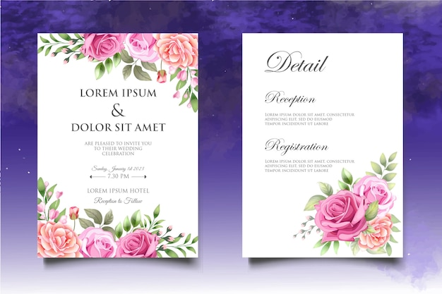 Modèle d'invitation de mariage floral dessin à la main