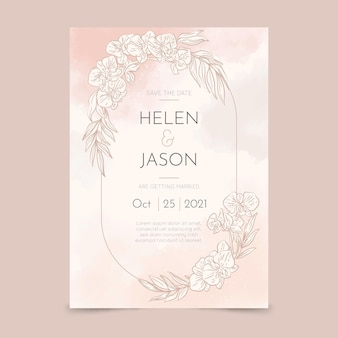 Modèle d'invitation de mariage floral dessiné à la main de gravure