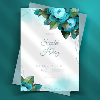Modèle d'invitation de mariage floral dessiné à la main