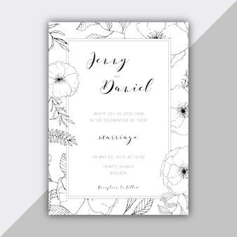 Modèle d'invitation de mariage floral dessinée à la main