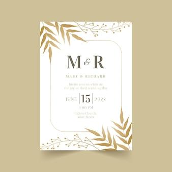 Modèle d'invitation de mariage floral doré dégradé
