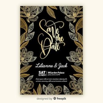 Modèle d'invitation de mariage floral doré