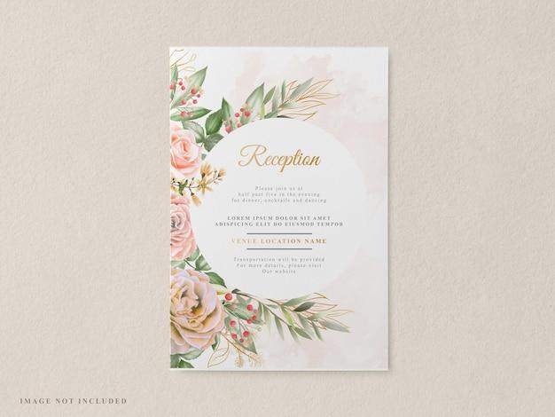 Modèle d'invitation de mariage floral élégant et beau