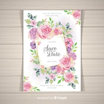 Modèle d'invitation de mariage floral élégant avec des éléments dorés