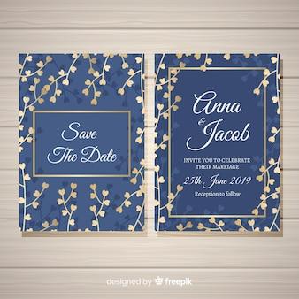 Modèle d'invitation de mariage floral avec des éléments de conception dorés