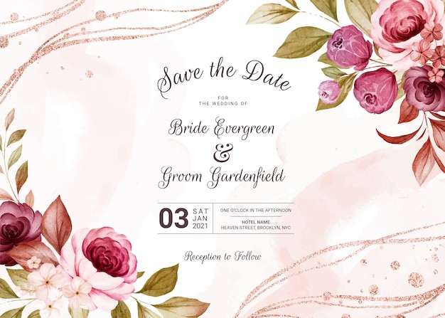 Modèle d'invitation de mariage floral horizontal serti d'élégantes fleurs de roses bordeaux et marron et décoration de feuilles. concept de design de carte botanique