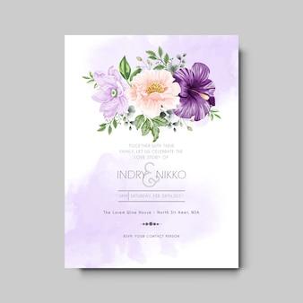 Modèle d'invitation de mariage avec floral magnifique et élégant