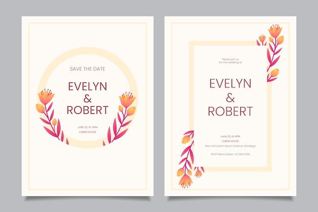 Modèle d'invitation de mariage floral minimaliste