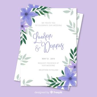 Modèle d'invitation de mariage floral peint à la main