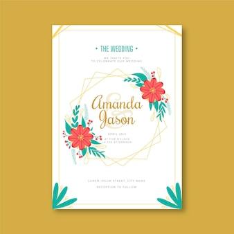 Modèle d'invitation de mariage floral plat organique