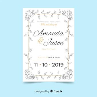 Modèle d'invitation de mariage floral rétro