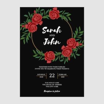 Modèle d'invitation de mariage floral rose rouge vintage