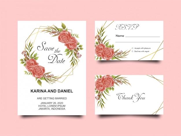 Modèle d'invitation de mariage floral rouge