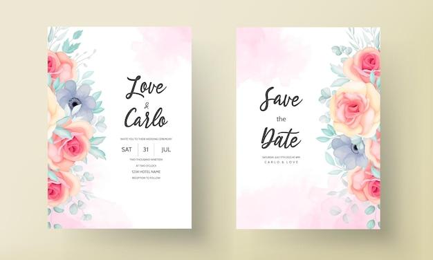 Modèle d'invitation de mariage floral serti de belles fleurs et décoration de feuilles