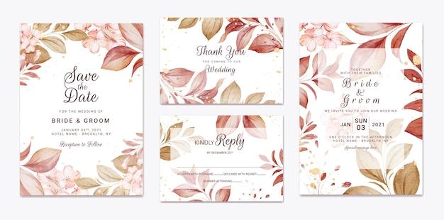 Modèle d'invitation de mariage floral serti de bordeaux d'or
