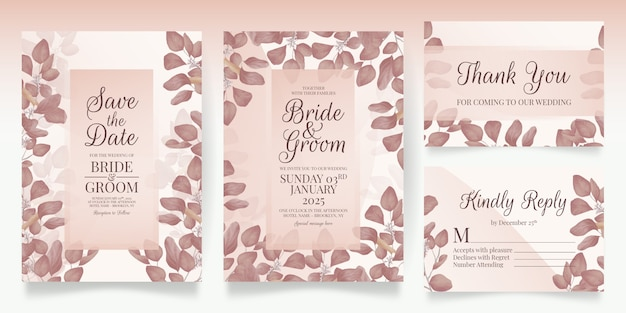 Modèle d'invitation de mariage floral serti de décoration élégante de feuilles