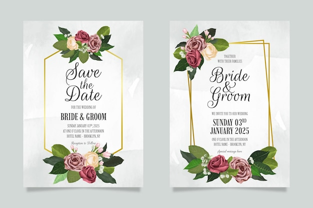 Modèle d'invitation de mariage floral serti de décoration de feuilles de roses aquarelles