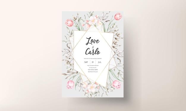 Modèle d'invitation de mariage floral serti de décoration de fleurs et de feuilles marron et pêche