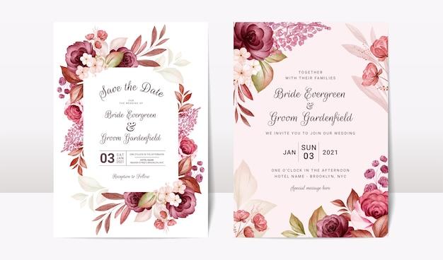 Modèle d'invitation de mariage floral serti d'élégantes fleurs de roses bordeaux et marron et décoration de feuilles. concept de design de carte botanique