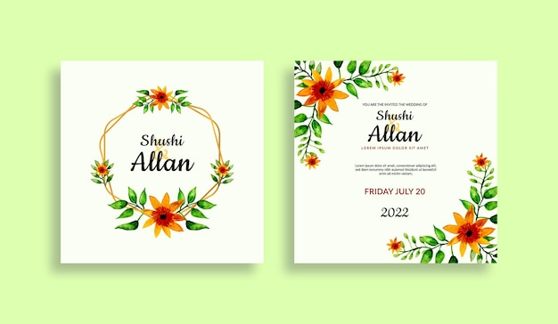 Modèle d'invitation de mariage floral serti de fleurs et de feuilles aquarelles vertes