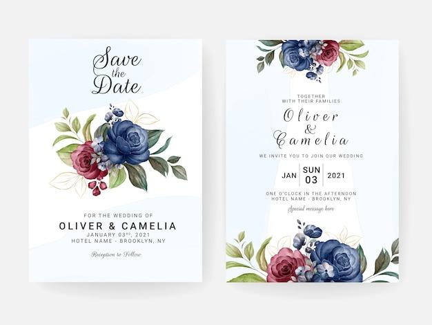 Modèle d'invitation de mariage floral serti de fleurs de roses bleues et rouges et décoration de feuilles. concept de design de carte botanique