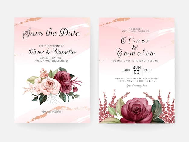 Modèle d'invitation de mariage floral serti de fleurs de roses bordeaux et pêche et décoration de feuilles. concept de design de carte botanique