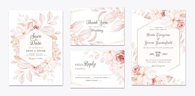 Modèle d'invitation de mariage floral serti de fleurs de roses brunes et décoration de feuilles.