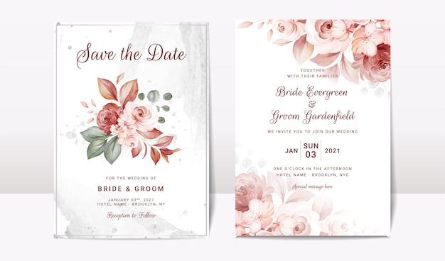 Modèle d'invitation de mariage floral serti de fleurs roses et décoration de feuilles. concept de design de carte botanique
