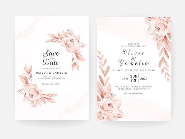 Modèle d'invitation de mariage floral serti de fleurs de roses pêche et décoration de feuilles. concept de design de carte botanique