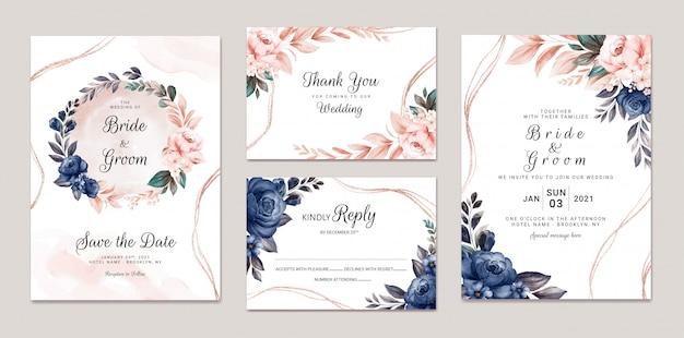 Modèle d'invitation de mariage floral serti de roses aquarelles bleu marine et pêche et décoration de feuilles. concept de design de carte botanique