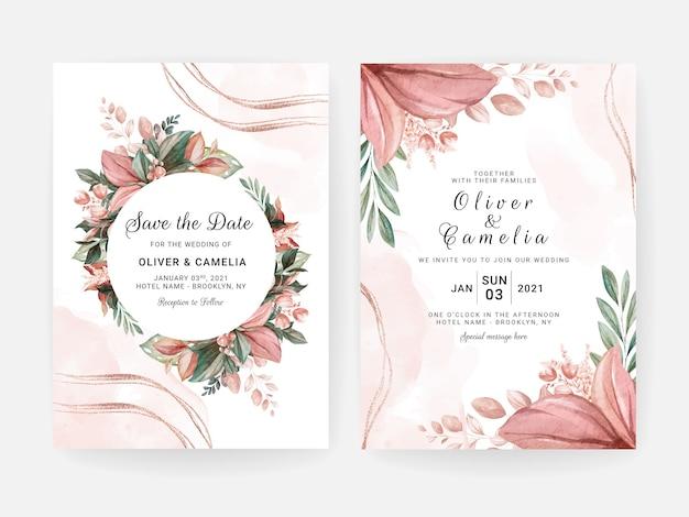 Modèle d'invitation de mariage floral sertie de décoration de fleurs et de feuilles. concept de design de carte botanique