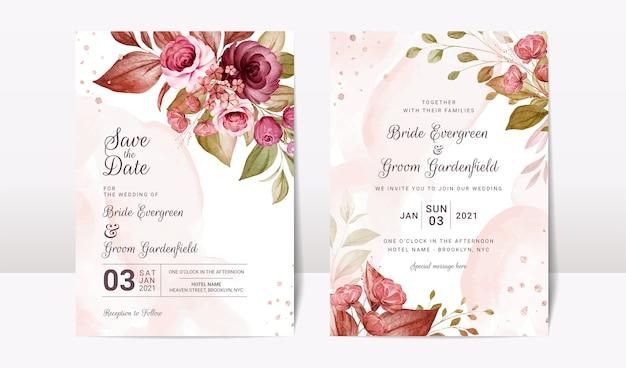 Modèle d'invitation de mariage floral sertie d'élégantes fleurs de roses bordeaux et marron et décoration de feuilles. concept de design de carte botanique