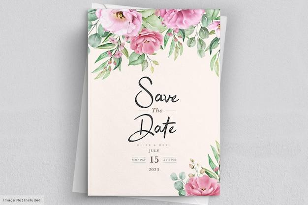 Modèle d'invitation de mariage floral sertie de fleurs et de feuilles de roses roses