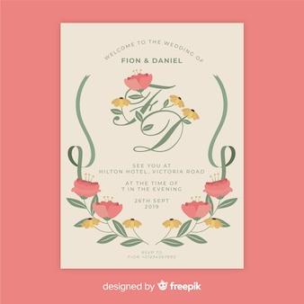 Modèle d'invitation de mariage floral vintage