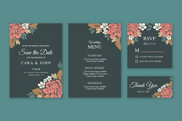 Modèle d'invitation de mariage floral