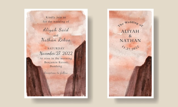 Modèle d'invitation de mariage avec fond de paysage aquarelle désert savanah